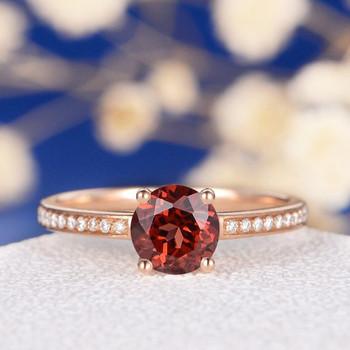 Retro Unique Minimalist Red Stone Garnet Engagement Ring