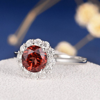 7mm Round Garnet Moissanite Snowflake Halo Engagement Ring
