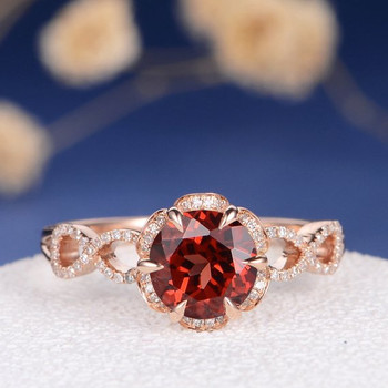 Rose Gold Garnet Antique Diamond infinity Engagement Ring