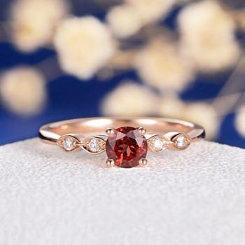Garnet Art Deco Wedding Diamond  Dainty Engagement Ring