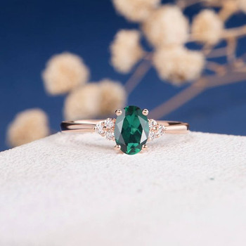 Rose Gold Diamond Cluster Oval Cut  Lab Emerald Engagement Ring