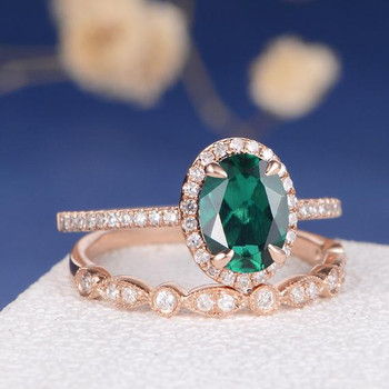 Antique Lab Emerald Art Deco Wedding Band Engagement Ring Set