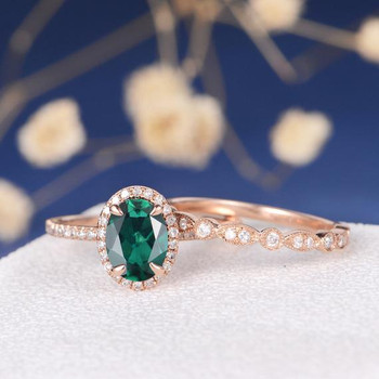 Antique Lab Emerald Art Deco Wedding Band Engagement Ring Set
