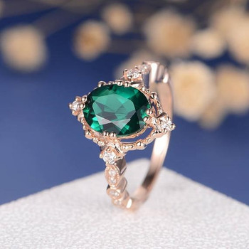Oval Cut Lab Emerald Unique Art Deco Eternity Engagement Ring