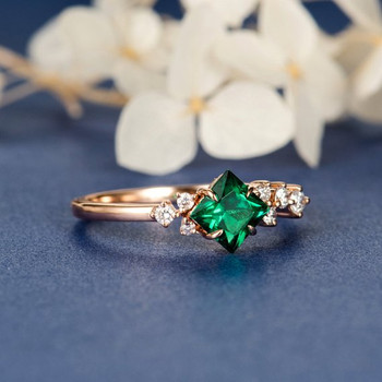 Princess Cut Lab Emerald Cluster Diamond Band Engagement Ring