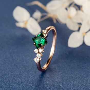 Princess Cut Lab Emerald Cluster Diamond Band Engagement Ring