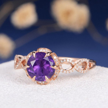 Rose Gold Amethyst Antique Diamond infinity Engagement Ring