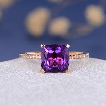 Cushion Cut Amethyst Solitaire Classic Wedding Ring