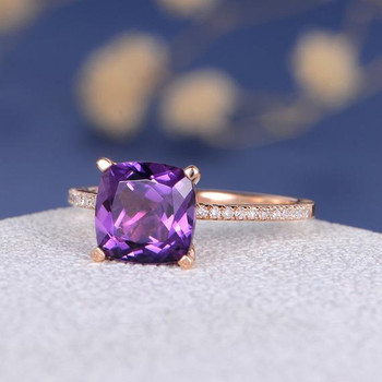 Cushion Cut Amethyst Solitaire Classic Wedding Ring