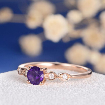 Amethyst  Art Deco Wedding Diamond Dainty Engagement Ring