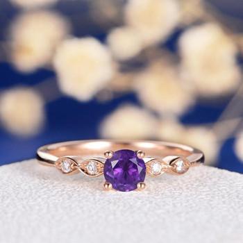 Amethyst  Art Deco Wedding Diamond Dainty Engagement Ring