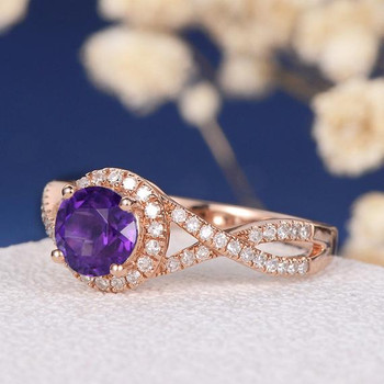 6mm Round Amethyst  Antique Retro Rose Gold Engagement Ring
