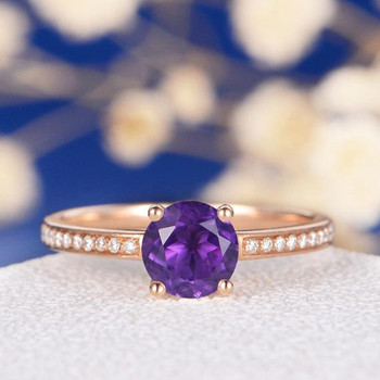 6.5mm Round Amethyst  Solitaire Rose Gold Engagement Ring
