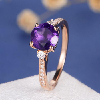 Rose Gold 3 Stone Amethyst Engagement Ring
