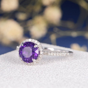 White Gold Halo Purple  Amethyst Engagement Ring