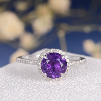 White Gold Halo Purple  Amethyst Engagement Ring
