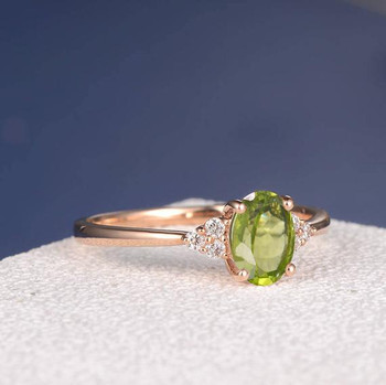 5*7mm Oval Cut Peridot Cluster  Diamond Engagement Ring