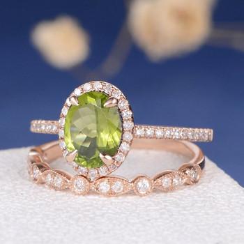 6*8mm Oval Cut Peridot Engagement Ring Bridal Set
