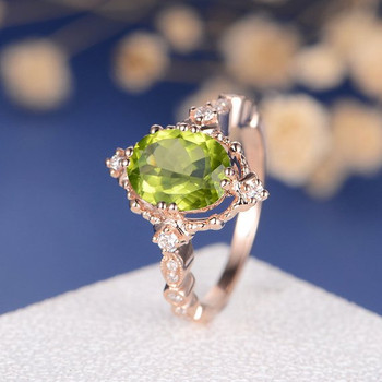 Peridot  Art Deco  Diamond Beaded Milgrain Unique  Engagement Ring