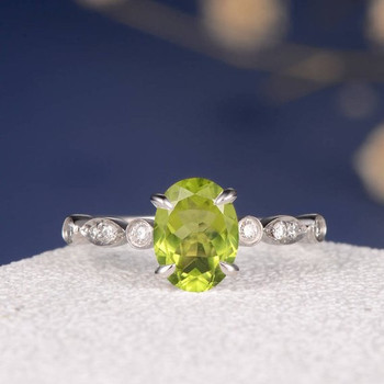 Art Deco Oval Cut Peridot  Eternity Diamond Engagement Ring
