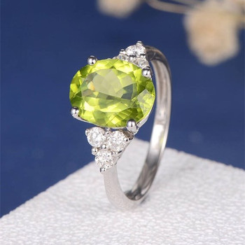Oval Cut Peridot  Cluster Diamond Antique  Engagement Ring