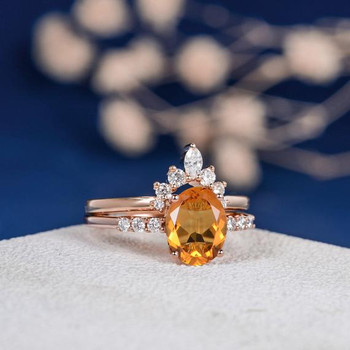 Oval Cut Citrine Curved Band Marquise Diamond Bridal Set
