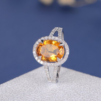 Oval Cut Citrine Halo Diamond Split Shank Half Eternity Wedding Ring