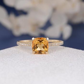 Cushion Citrine Solitaire Diamond Half Eternity Multistone  Wedding Ring