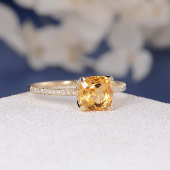 Cushion Citrine Solitaire Diamond Half Eternity Multistone  Wedding Ring