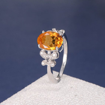 Citrine Diamond Butterfly Antique Unique Flower Engagement Ring