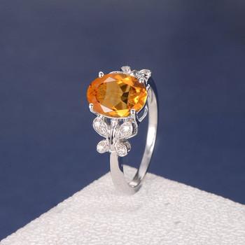 Citrine Diamond Butterfly Antique Unique Flower Engagement Ring