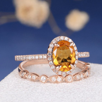 6*8mm Oval Cut Citrine  Art Deco Wedding Band Bridal Set