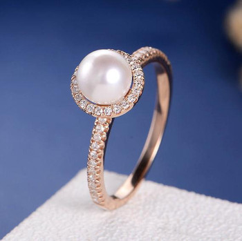 White Pearl Diamond Halo Half Eternity Engagement Ring