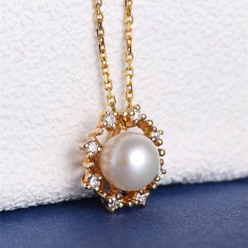 Antique Pearl Necklace Diamond Halo Floral Dainty Cluster Pendant