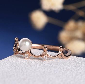 White Pearl Diamond Art Deco Tiara Unique Engagement Ring