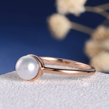 Solitaire Akoya minimalist White Pearl  Bezel Set Engagement Ring