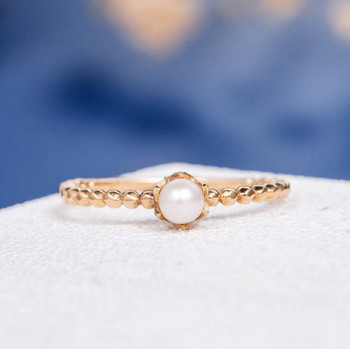 Akoya Pearl Solitaire Twist Flower Floral Minimalist Engagement Ring