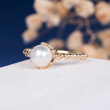 Akoya Pearl Engagement Ring Antique Twisted Eternity Wedding Band