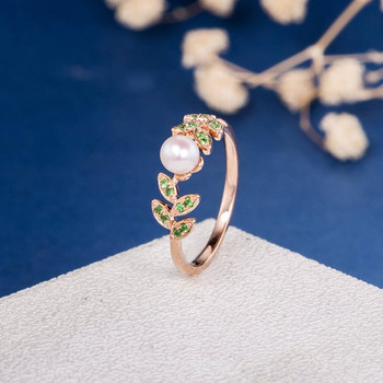 Pearl Engagement Ring Tsavorite Leafy Band Flower Unique