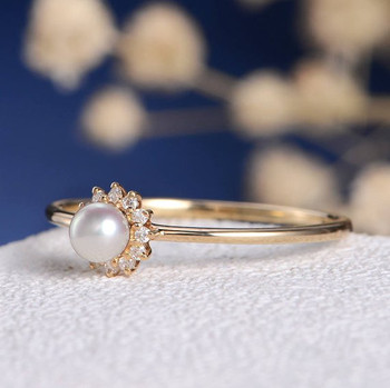 White Akoya Pearl Diamond Solitaire Dainty Halo Engagement Ring
