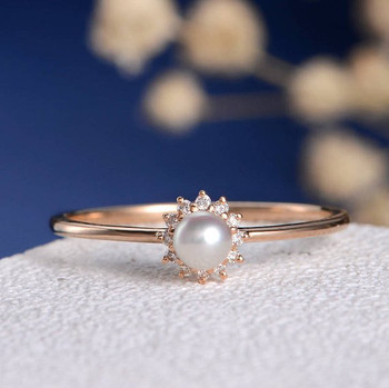 Akoya Pearl Diamond Solitaire Dainty Flower  Engagement Ring