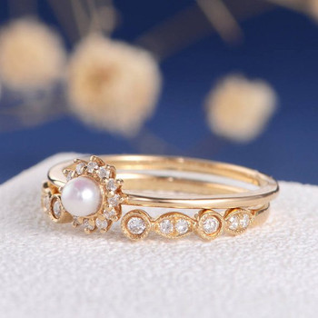 Akoya Pearl Diamond Solitaire Dainty Halo Engagement Ring Set