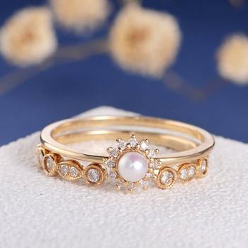 Akoya Pearl Diamond Solitaire Dainty Halo Engagement Ring Set