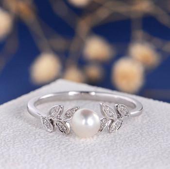 Pearl White Gold Engagement Ring Flower Unique Diamond Leave Vine