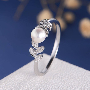 Pearl White Gold Engagement Ring Flower Unique Diamond Leave Vine