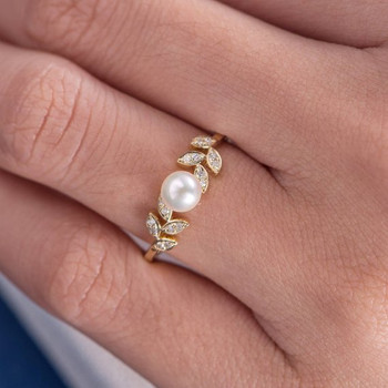 Pearl  Engagement Ring Flower Unique Diamond Leave Vine Art Deco
