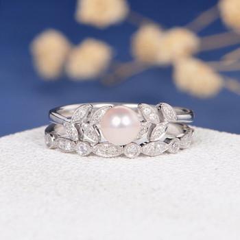 Pearl White Gold Diamond Leave Unique Vine  Engagement Ring Set