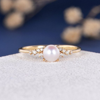 5mm Akoya Pearl Engagement Ring Flower Unique Wedding Yellow Gold