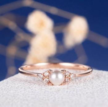 Pearl Antique Cluster Retro Art Deco Diamond Engagement Ring