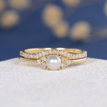 Pearl Engagement Ring Set Yellow Gold Diamond Eternity Antique Art Deco